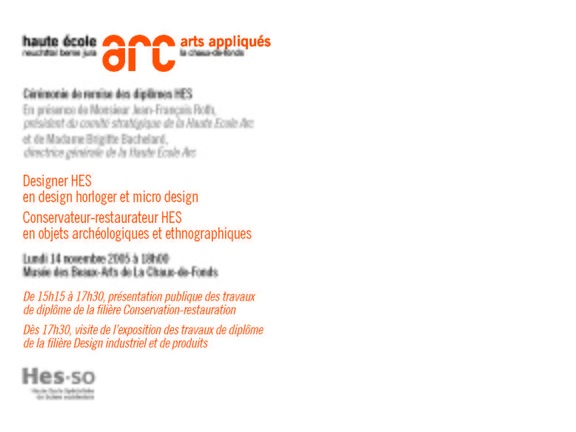 HEAA-ARC RemiseDiplômes 2005 Invitation Page 2