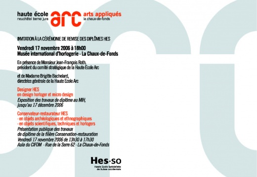 HEAA-ARC RemiseDiplômes 2006 Invitation Page 2